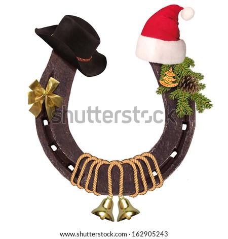 Stock images similar to id 87802243 cowboy christmas for Horseshoe christmas art