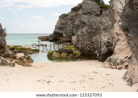 horseshoe beach bermuda - stock photo