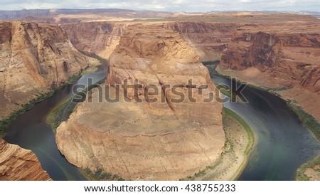 Horseshoe Bend and Colorado River, Arizona, USA - stock photo