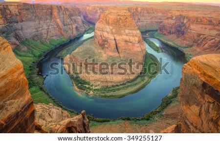 horseshoe bend , page, arizona, united states - stock photo