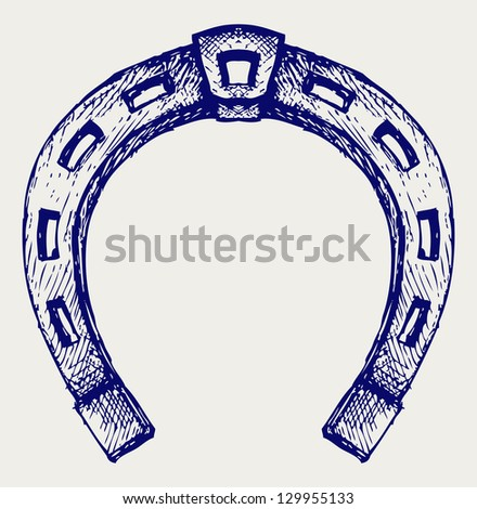 Horseshoe. Doodle style. Raster version - stock photo