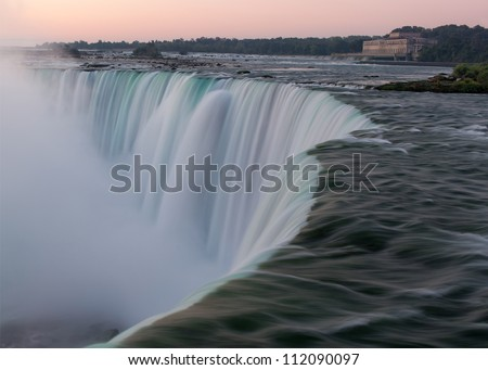 Horseshoe Falls as viewed from Table Rock in Queen Victoria Park in Niagara Falls, Ontario, Canada - stock photo