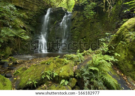 Horseshoe Falls, Catlins, Southland, beautiful waterfall amidst lush temperate rainforest with trees and rocks, New Zealand - stock photo