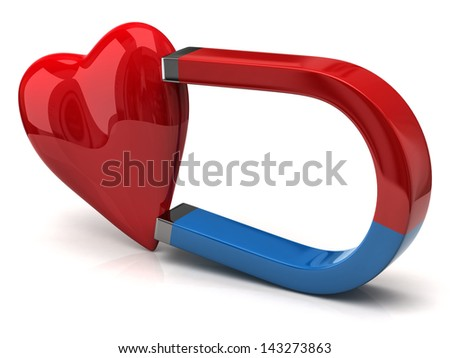 Horseshoe magnet attracting red heart - stock photo