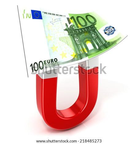 Horseshoe magnet collecting money, isolated on white background - stock photo