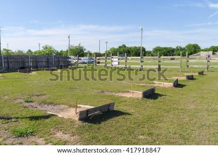 horseshoe playing field - stock photo