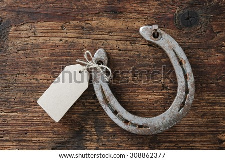 Horseshoe with an empty tag on wooden board - stock photo