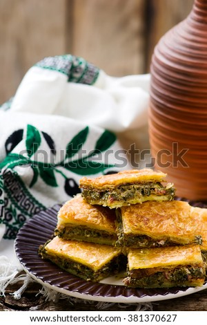 Hortopita. the Greek snack pie with a swiss chard  and feta. style rustic selective focus - stock photo