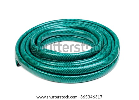 hose for watering isolated on a white background - stock photo