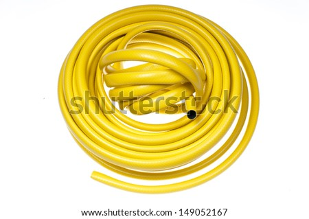 Hose-pipe on a white background-stock photo - stock photo