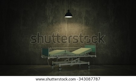 hospital bed in a room - stock photo