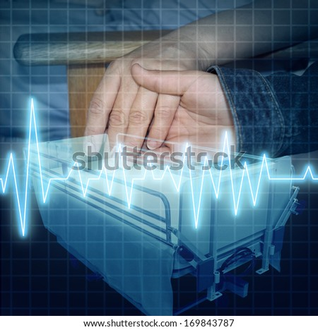 Hospital care and medical family support as the hand of a child giving assistance to an adult patient with an ECG or EKG icon and a stretcher as a health concept of emotional help and caring. - stock photo