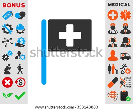 Hospital Flag glyph icon. Style is bicolor flat symbol, blue and gray colors, rounded angles, white background. - stock photo