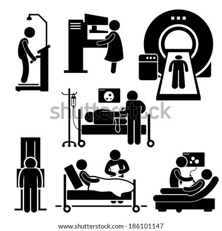 Hospital Medical Checkup Screening Diagnosis Diagnostic Stick Figure Pictogram Icon Cliparts - stock photo