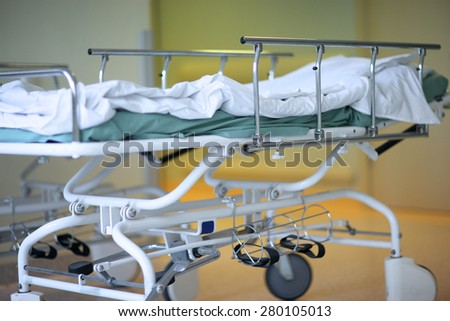 Hospital mobile bed - stock photo