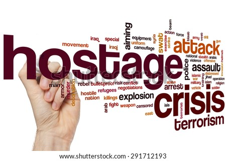 Hostage crisis word cloud concept with terrorism police related tags - stock photo