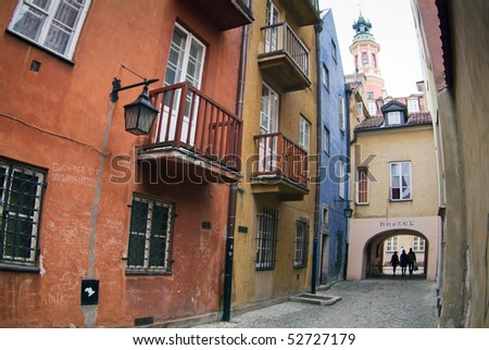 Hostel in tenement house at Warsaw's old town. - stock photo