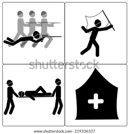 Hostilities and soldiers - stock photo