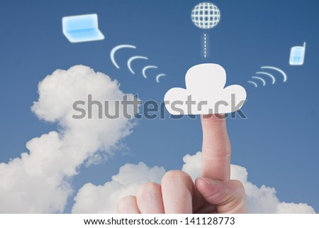 Hosting Cloud with Globe, Computer and Phone Icons - stock photo