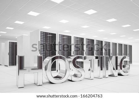 Hosting Letters in data center made of chrome - stock photo
