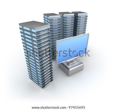 Hosting Server Farm and monitor - stock photo