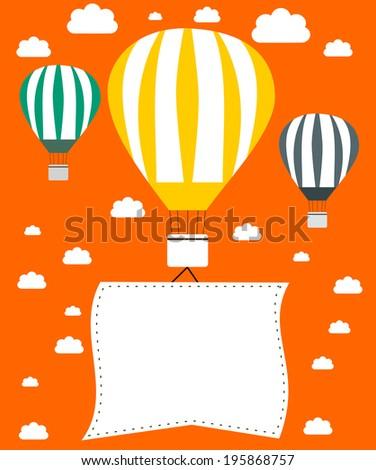 Hot Air Ballon Advertising Banner - stock photo