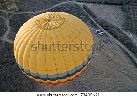 Hot Air Ballons flying on the sky of Cappadocia. - stock photo