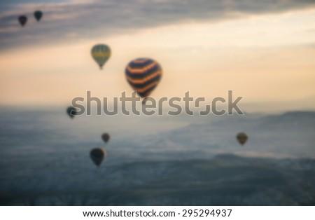 hot air Balloon, Cappadocia, Turkey : blur background - stock photo
