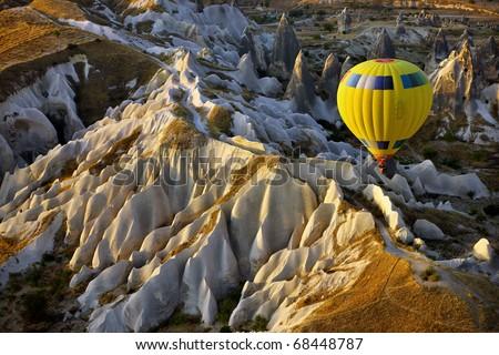 Hot air balloon flight over Cappadocia - stock photo