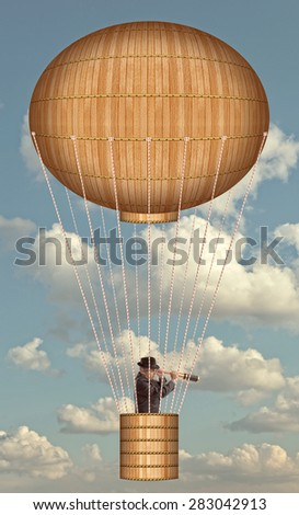 Hot air balloon high in the sky. Steampunk style   - stock photo