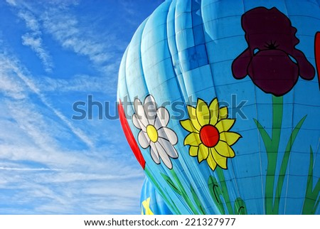 Hot air balloon in Switzerland - stock photo