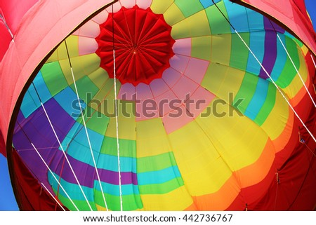 Hot Air Balloon Interior, Bright Vibrant Colors, Exciting - stock photo