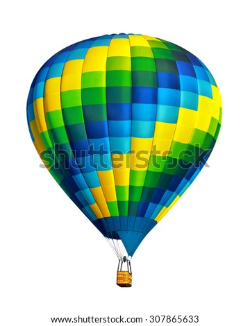 Hot air balloon isolated on white background. - stock photo