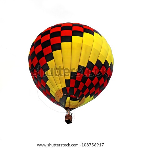 Hot air balloon isolated white background - stock photo
