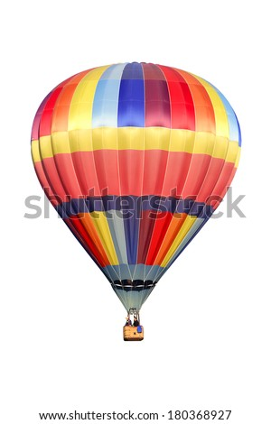 Hot air balloon on white background  - stock photo