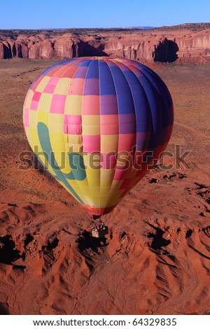 Hot air balloon over Monument Valley , Utah, USA - stock photo