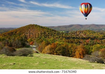 Hot Air Balloon Over the Blue Ridge Parkway, Autumn - stock photo
