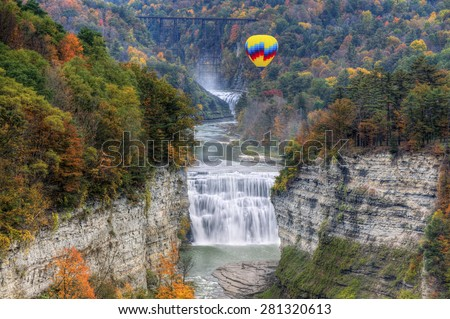 Hot Air Balloon Over The Middle Falls At Letchworth State Park In New York - stock photo
