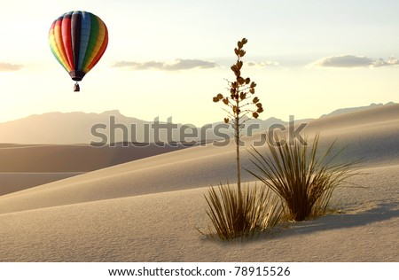 Hot Air Balloon over White Sands at Sunrise - stock photo