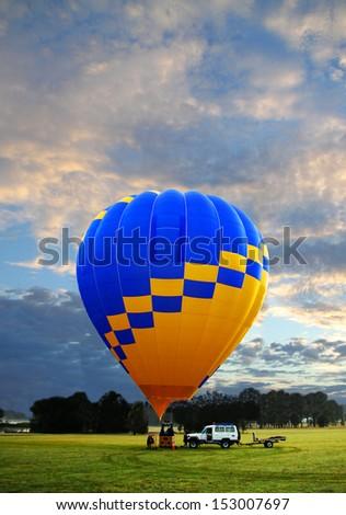 Hot air balloon - take off time - stock photo