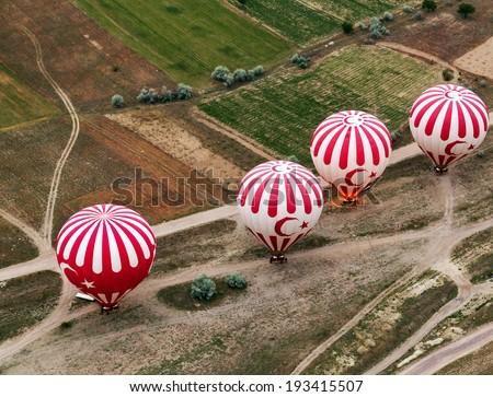 Hot air balloon turkish sign, Cappadocia, Turkey - stock photo