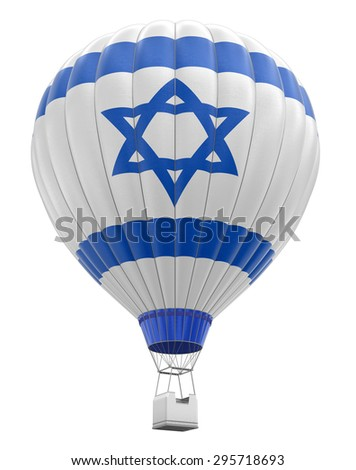 Hot Air Balloon with Israeli Flag (clipping path included) - stock photo