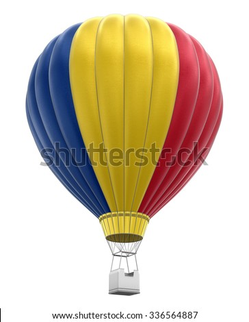 Hot Air Balloon with Romanian Flag (clipping path included) - stock photo