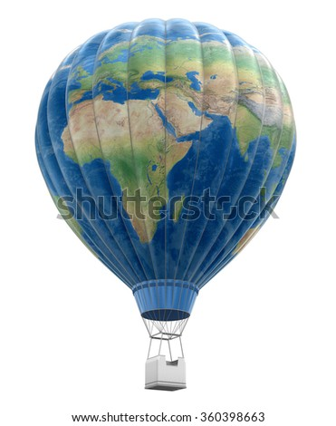 Hot Air Balloon with World Map. Image with clipping path Elements of this image furnished by NASA - stock photo