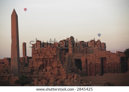 Hot-air ballooning over the Karnak temple with the Obelisk in luxor upper egypt - stock photo