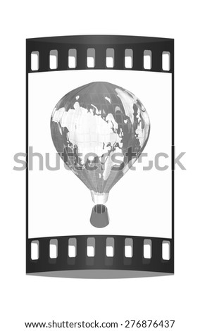 Hot Air Balloons as the earth with Gondola. Colorful Illustration isolated on white Background. The film strip - stock photo