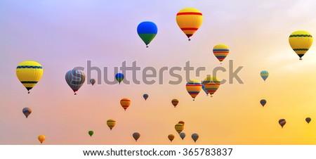 Hot air balloons festival - stock photo