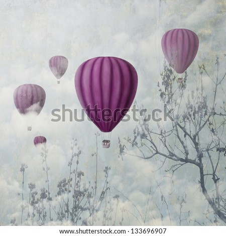 Hot air balloons in the clouds - stock photo
