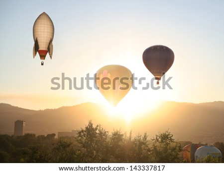 hot air balloons in the sky - stock photo