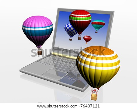 Hot air balloons take off from the screen of laptop. Unity 3d charts and the real world - stock photo
